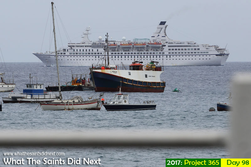 'One For Arthur'<br /> 8 April, 2017, 08:00 - 1/320, f8, ISO-200<br /> Cruise ship, Astor, abandons a planned day visit to the island due to rough seas.