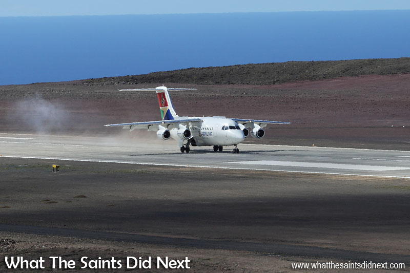 SA Airlink Avro RJ85 - First commercial passenger flight to St Helena Airport.