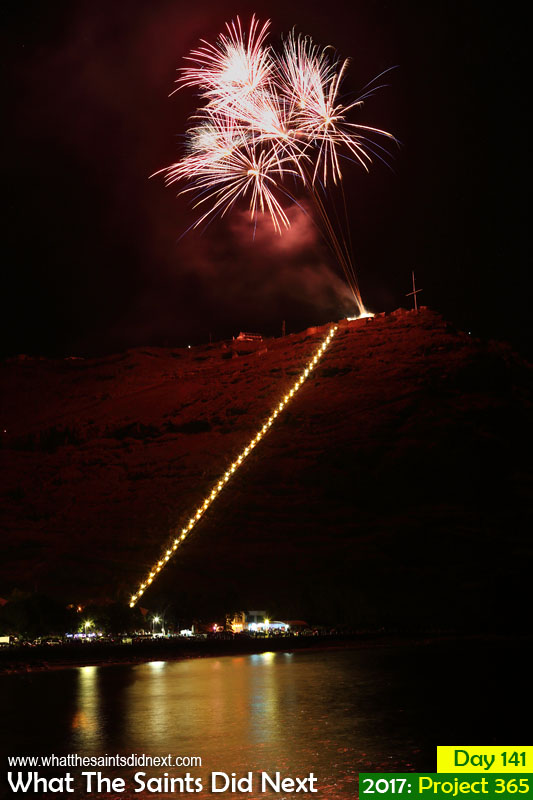 National Celebration Day fireworks over Jacob's Ladder St Helena and the Jamestown harbour.