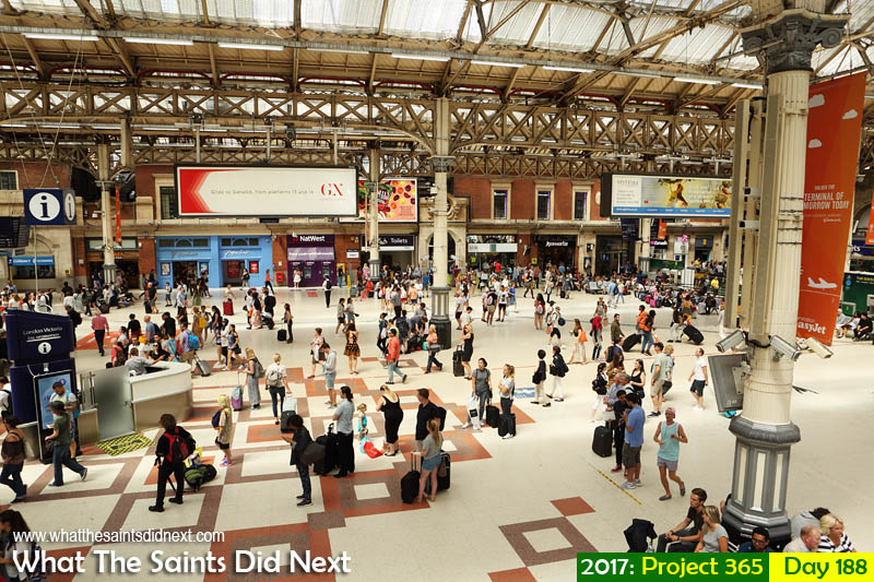 The ever busy Victoria train station in London.