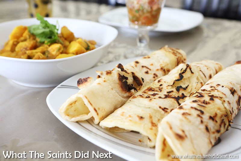 Cape Malay chicken curry and roti wraps ready for lunch.