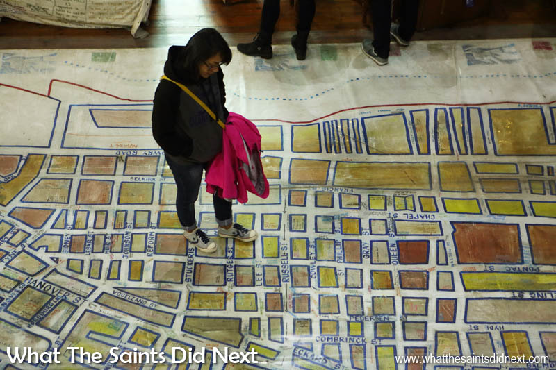 A map of District Six in Cape Town, how it was before the 1966 evictions. The map is displayed on the floor of the museum so visitors can 'walk the streets' as they were.