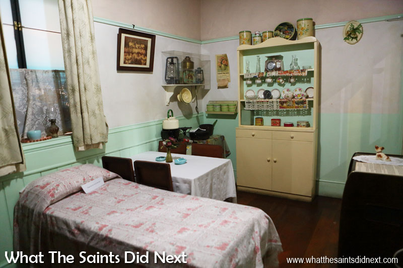 Museum collection of a typical 1966 home replica inside the District Six Museum.