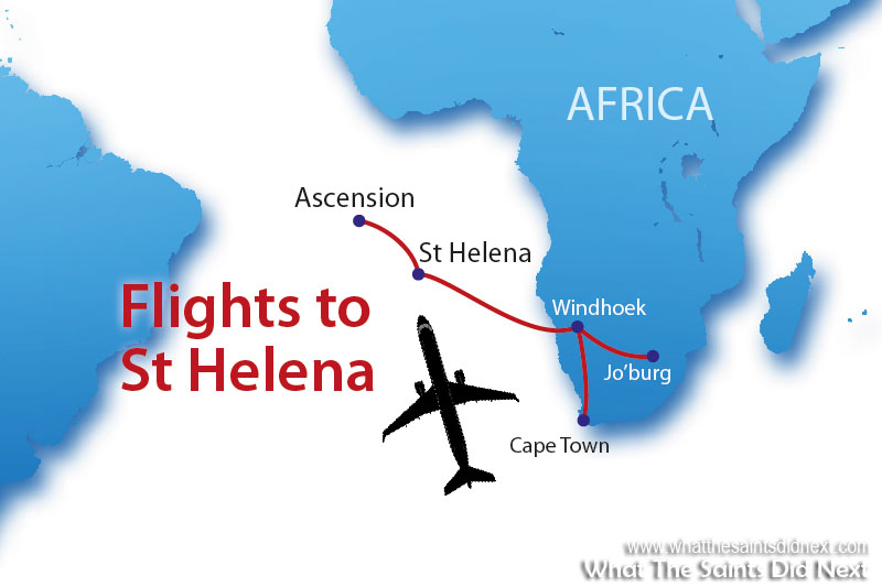 The SA Airlink Embraer E190 aircraft is used for the St Helena air service. It flies from Johannesburg, refuelling at Windhoek, Namibia. The return flight to Johannesburg is non-stop.