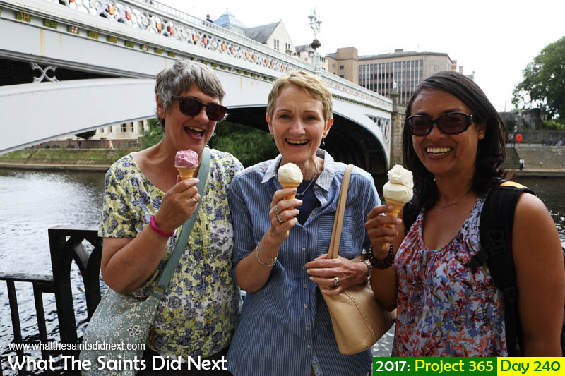 'Yellow haze'<br /> 28 August 2017, 14:43 - 1/250, f8, ISO-200<br /> Pat, Linda and Sharon, the Dame Judi Dench ice-cream ladies in York.