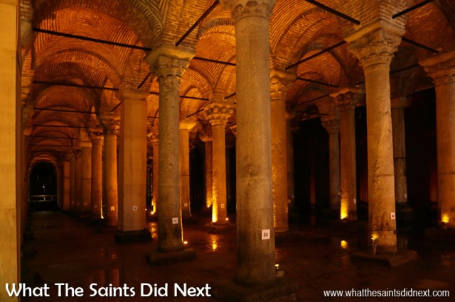 There are 336 marble columns throughout the Basilica Cistern in Istanbul.