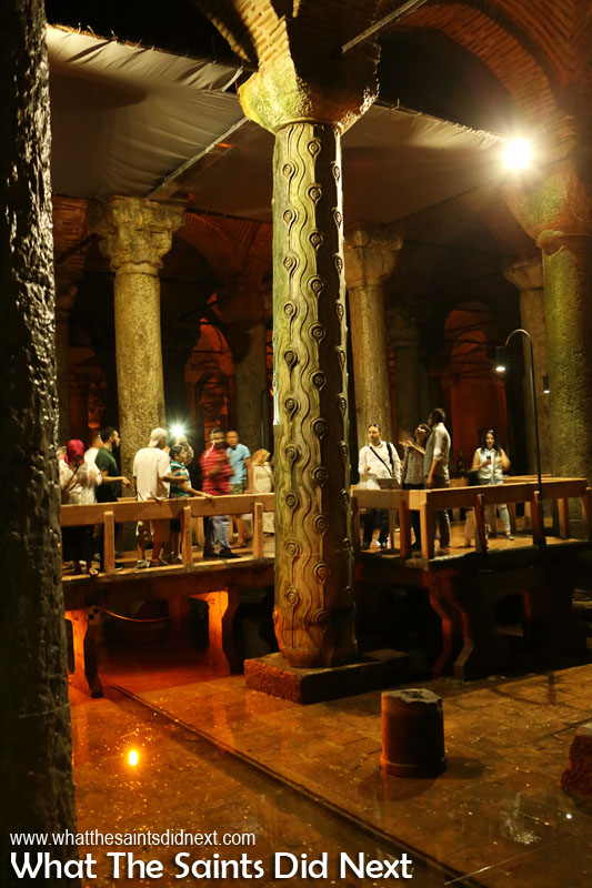 Basilica Cistern - The column known as Tear or Crying Column, has an appearance as if it were crying because it is wet unlike the other columns. It is reported that the Crying Pillar was built for the memory of hundreds of slaves who lost their lives during the construction of the Basilica Cistern.
