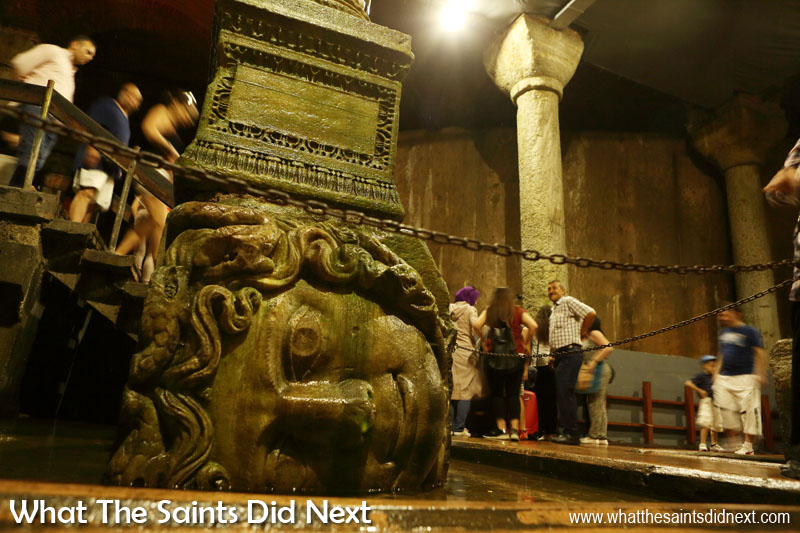 Basilica Cistern in Istanbul - The second of the two Medusa Heads that support the two columns at the north-west edge of the cistern, great works of art from the Roman period.