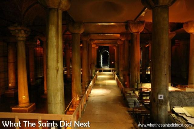 Inside the Basilica Cistern in Istanbul, Turkey.