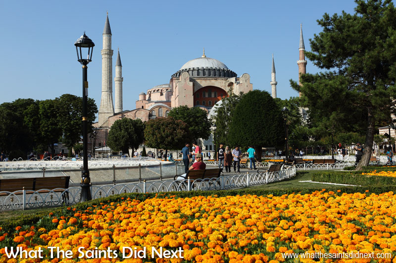 View of the Hagia Sophia museum from inside the nearby Sultanahmet Arkeolojik Park.