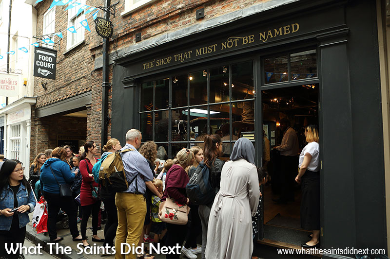 Always a long queue to go in 'The Shop That Must Not Be Named.' The place to go for Harry Potter memorabilia.