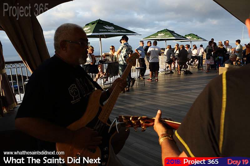 """Live music on Friday afternoon at <a href=""""http://whatthesaintsdidnext.com/2017/12/10/rosies-bar-restaurant-st-helena-fantastic-grand-opening/"""" target=""""_blank"""" rel=""""noopener"""">Rosie's Lounge Bar</a> at Ladder Hill. January, 2018."""