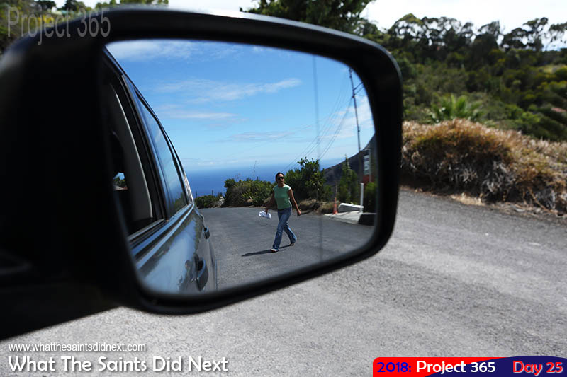 Sea view in the wing mirror. January 2018.