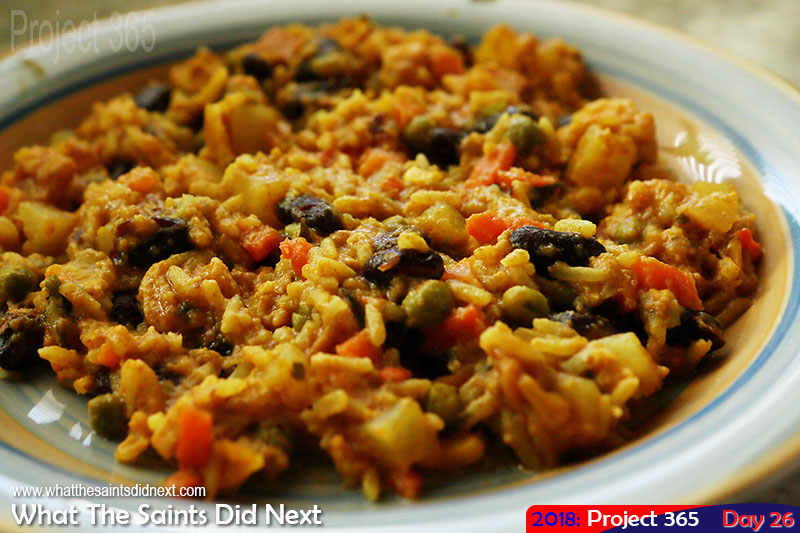 """A plateful of <a href=""""http://whatthesaintsdidnext.com/the-st-helena-plo-pilau-recipe-a-one-pot-wonder/"""" target=""""_blank"""" rel=""""noopener"""">yumminess and sunshine</a>. January 2018."""