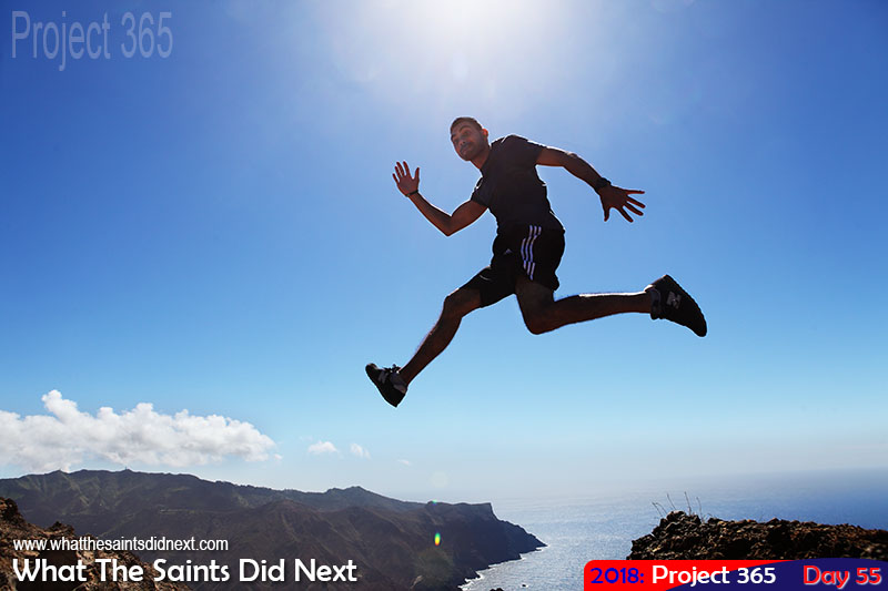 "Big-Air antics on the hike to <a href=""http://whatthesaintsdidnext.com/2016/09/23/the-blue-point-post-box-walk-st-helena/"" target=""_blank"" rel=""noopener"">Blue Point</a>. February 2018."