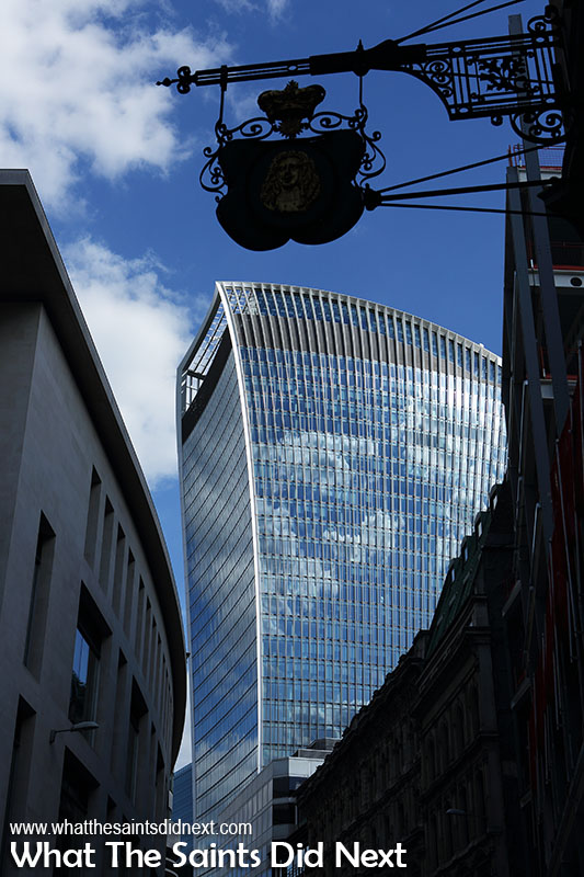 London's Sky Garden walkie talkie tower as we emerge from the Underground. The London gardens is at the top.