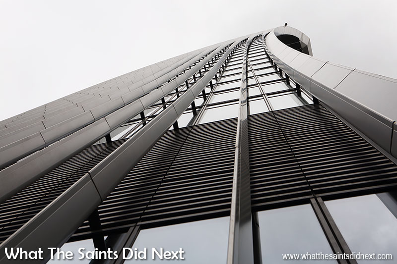 Looking up the side of 20 Fenchurch Street as we wait in the queue to go up to the Sky Garden in London.