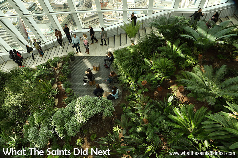 Stairways leading to the top level of the Sky Garden in London.