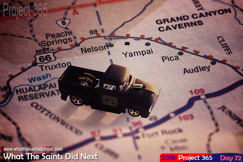 Hot Wheels pickup truck taking a Route 66 Road Trip.