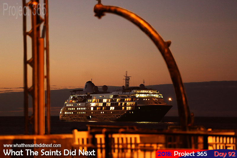 Cruise ship, 'Silver Cloud' from the Silverseas Cruises, makes overnight stop.