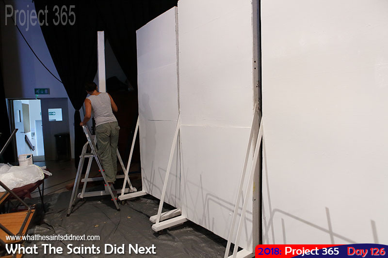 Completing the painting of backdrops for MSH pageant next week.