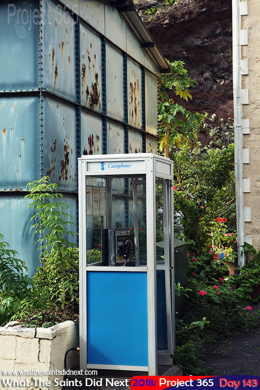 Traditional telephone box, still in use in town.