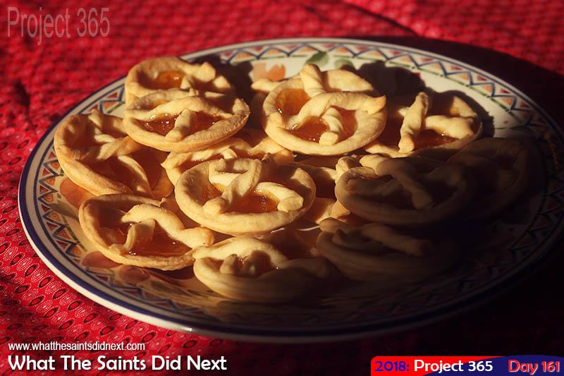 A plateful of jam tarts.