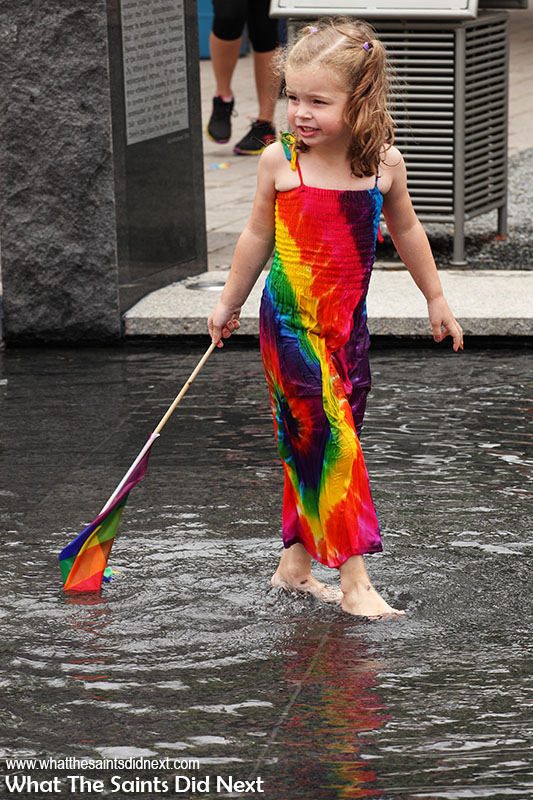Nashville Pride, playing in the fountain.