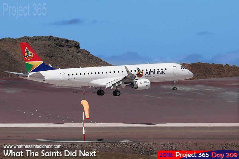 "Airlink Embraer E190, call sign ZS-YAJ, landing at <a href=""http://whatthesaintsdidnext.com/the-brand-new-st-helena-airport-is-amazing/"" target=""_blank"" rel=""noopener"">HLE Airport </a>for the first time."