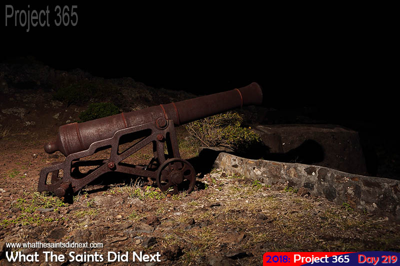 "<a href=""http://whatthesaintsdidnext.com/strobist-landscape-photography-st-helena-night/"" target=""_blank"" rel=""noopener"">Sampson's Battery at night</a>."