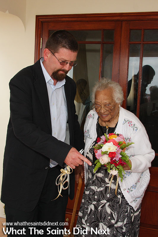 Mrs Hilda Clingham (98), oldest living person on St Helena in 2008, officially opened the CCC. Assisted here by Head of the Community Care Centre, Ian Rummery.