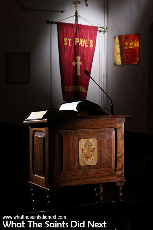 The lectern in St Pauls Cathedral, St Helena.