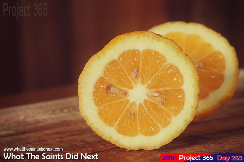 Freshly sliced lemons.