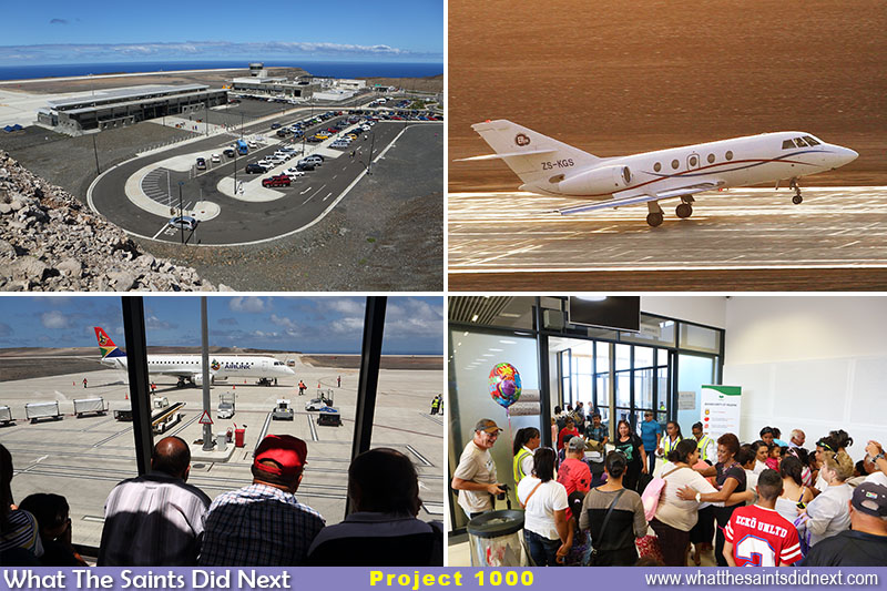 "1000 Days on St Helena has been dominated by the airport story. Clockwise from top left: St Helena Airport on a clear day. <a href=""http://whatthesaintsdidnext.com/2016/06/04/first-medical-evacuation-flight-from-st-helena-airport/"" target=""_blank"" rel=""noopener"">First air medevac</a> in June 2016. Meeting new arrivals inside the terminal. SA Airlink weekly flight operations seen from the airport viewing deck."