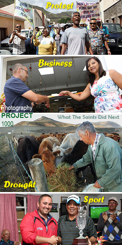 "Documenting current affairs on St Helena is an inadvertent outcome of Project 1000. Top to bottom: <a href=""http://whatthesaintsdidnext.com/2018/06/30/water-tariffs-protest-march-on-st-helena-enough-enough/"" target=""_blank"" rel=""noopener"">Water rates protest</a> (2018 Day 181), New A&D's Mini-Mart opening (2016 Day 350), hand feeding cattle during 2016 drought (Day 326), Larry Legg, Golf Open champion (2016 Day 261)."