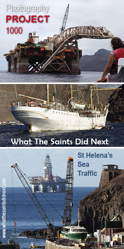 "Ocean going visitors to St Helena over the last 1000 days have included these three. <a href=""http://whatthesaintsdidnext.com/2016/02/26/skandi-admiral-in-drive-by-shopping-at-st-helena/"" target=""_blank"" rel=""noopener"">Castro 7 pipe laying platform</a> (top), SS Sorlandet, 2016 Day 28 (middle) and the oil rig, Atwood Condor (2017 Day 121)."