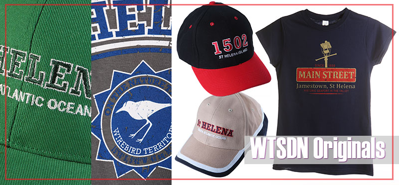 St Helena Island souvenirs baseball caps and t-shirts