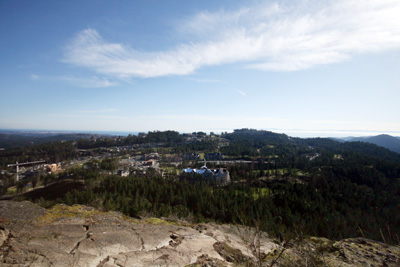 Mount Finlayson, near Victoria, BC. Note the lack of snow and ice.