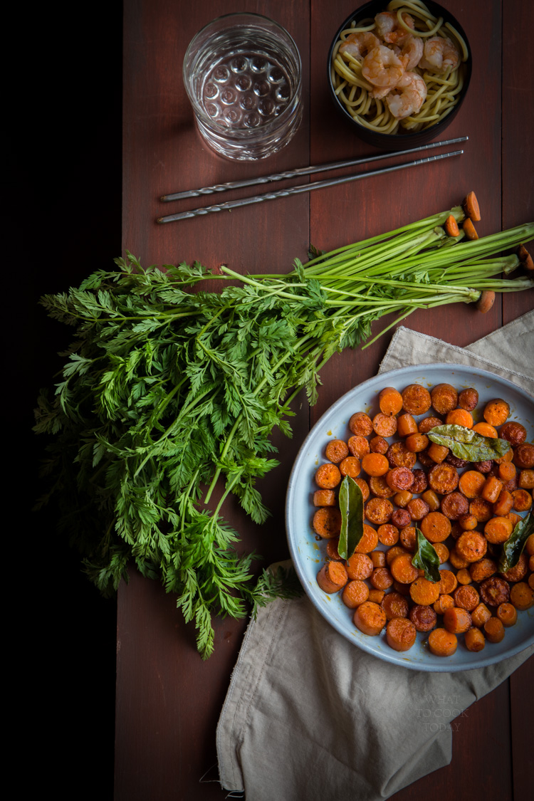 Pot-sticker carrots are made by caramelizing the carrots (without any added sugar, naturally from the carrots) and infused with bay leaves