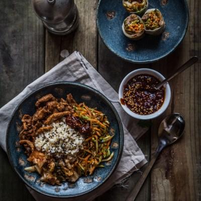 Bibimbap (mixed rice bowl) two ways