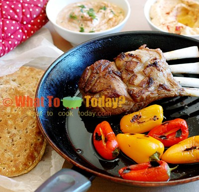 MOROCCAN LAMB CHOPS WITH FLATBREAD AND CHEESE-STUFFED PEPPERS FOR THE BIRTHDAY BOY