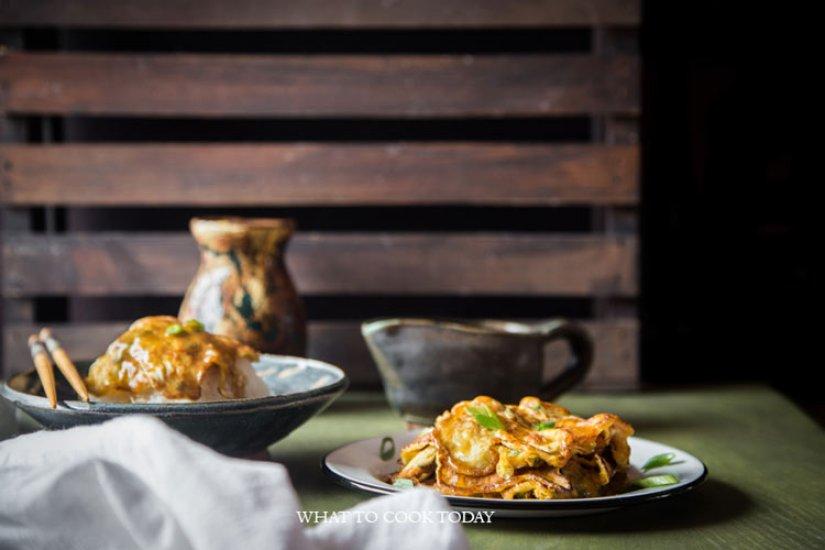 Egg foo yong (Asian omelette with gravy)