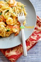 SPAGHETTI WITH SHRIMP AND WATERCRESS