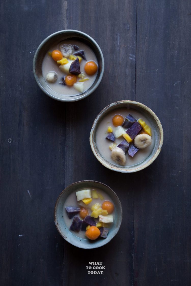 Kolak Ubi Pisang (Sweet potatoes, cassava, ube, plantain in coconut milk) #kolak #dessert #glutenfree #vegan #tapioca #ube #sweetpotato