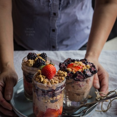 Very berry chocolate banana rice pudding
