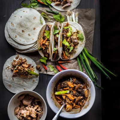 Slow-cooked miso pulled pork and mushroom medleys taco