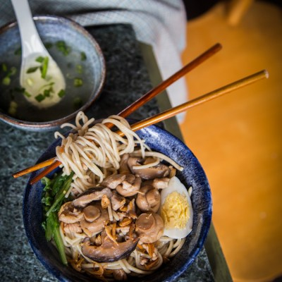Mie Ayam Jamur (Noodles with Chicken and  Mushroom)