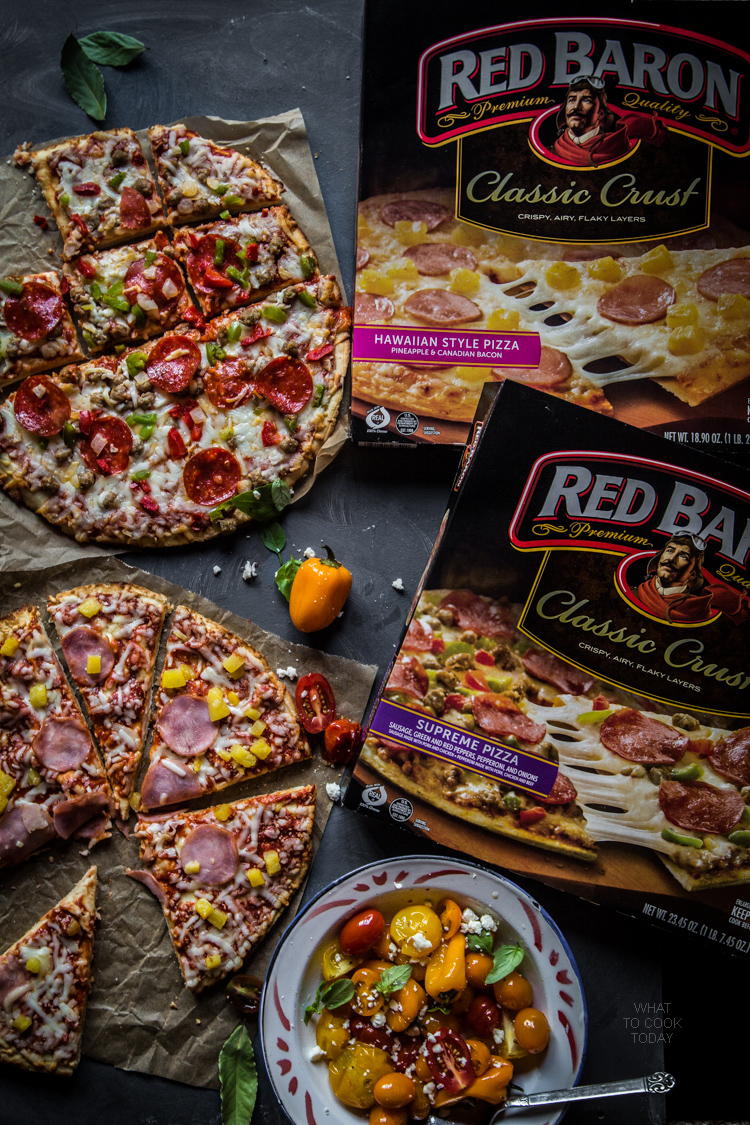 Movie night with pizza and roasted tomato, sweet pepper and feta salad #TimelessPizaa #ad