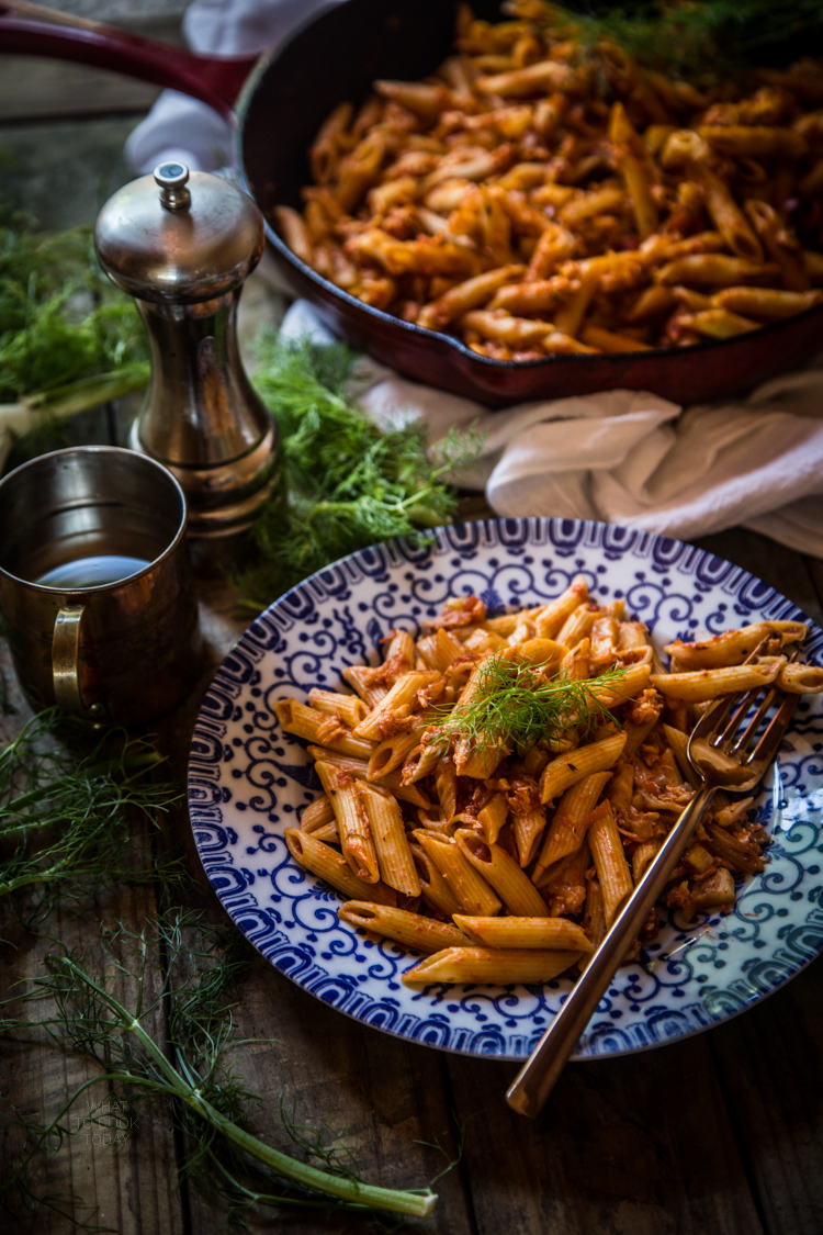 Penne with fennel and crab ragu #ad #PickedAtPeak