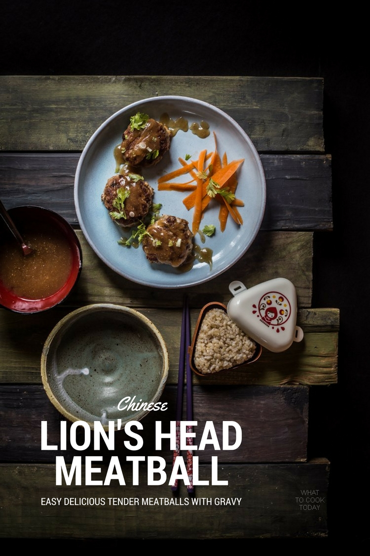 Lion's head meatballs. Delicious tender meatballs with gravy. Usually served with bokchoy (resembles lion's mane)